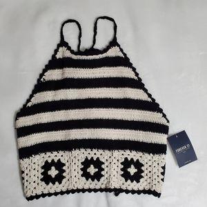 Black and White Crochet Halter Top